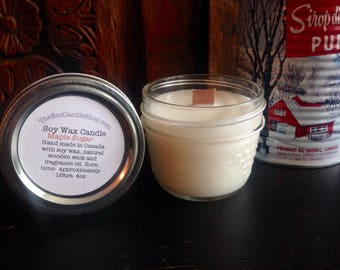 4oz all natural soy wax candle with wooden wick in Maple Sugar scent