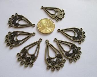lot de 8 connecteur goutte spirale en métal couleur bronze 32 x 19mm
