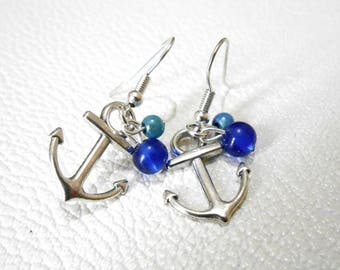 Earrings silver tone anchor and blue beads