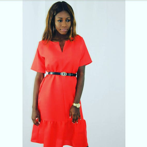 Faith Bright Red Mini Day Dress With Pleat Bottom