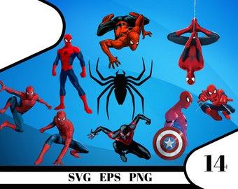 14 Spider-man Clipart – (svg, eps, dxf , png) Digital 300 PPI PNG, Vectorial images, Photos, Scrapbook, Digital, Cliparts, Decoration