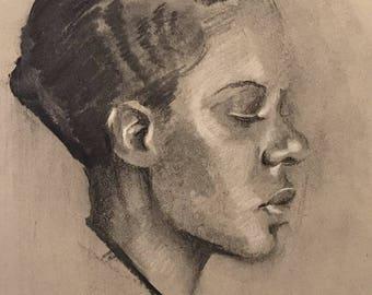Vintage Mugshot Drawing in Charcoal - Showgirl, 1934