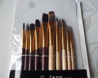 x 10 pinceaux pour peinture acrylique et à l'huile