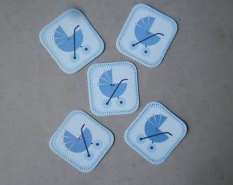 x 5 stickers boys à coller  représentant un landau bleu 3,2 x 3,5 cm