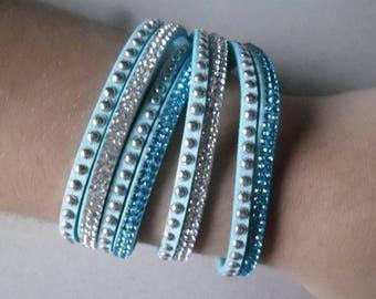 x 1 turquoise multi strand leather bracelet in blue/white Crystal rhinestone + studs silver 40 cm