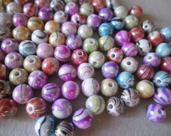 x 30 mixed beads multicolor stripe acrylic AB 8 mm round