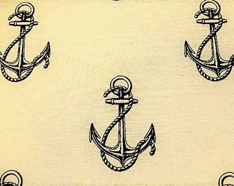 """Linen fabric and cotton printed patterns """"MARINE anchor"""""""