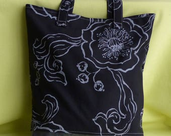 tote bag or purse to tote all xl, Black canvas has gray flowers, iridescent gray faux background