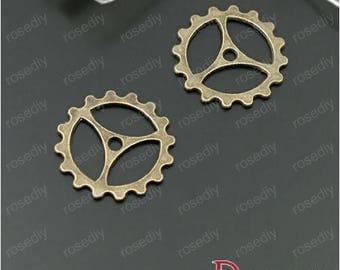 10 charms bronze gear D27891 22MM