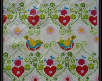 birds and hearts paper towel