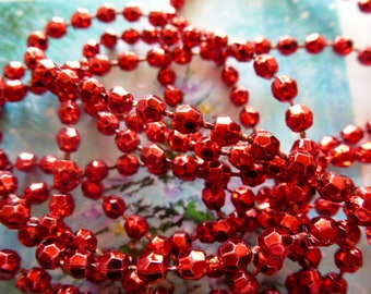bright red faceted beads wire metallic acrylic material for decoration parties