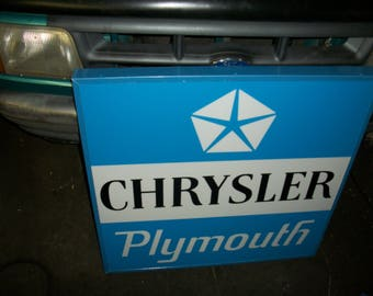 Chrysler Plymouth large lighted sign light up sign 35x35x5 inch
