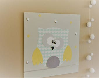 Painting for nursery, OWL on a wire, gray, green and yellow