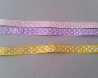 Set of 3 Coupons 0.90 m - Gros grain polka dot Ribbon / item - 10 mm