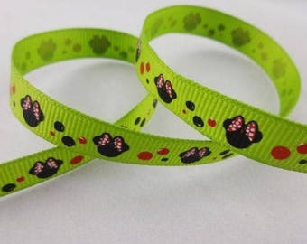 Green grosgrain Ribbon printed for children (mouse)