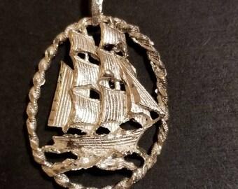 Sterling Silver Clipper Ship Pendant