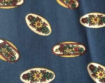 150 x 195 flowers blue cotton fabric