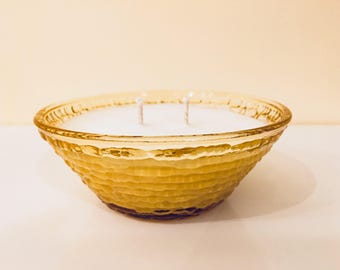 Repurposed Mid-Century Vintage Glass Soy Candle