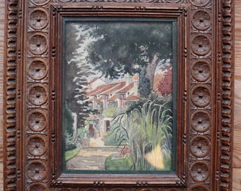 Antique 19th Century Watercolour in wooden Frame, Landscape Painting