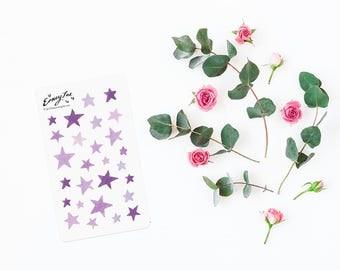 Purple Watercolor stars Stickerset-Watercolor sticker-pretty planning-scrapbooking-bullet journaling