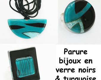 Matching turquoise and black glass jewelry set