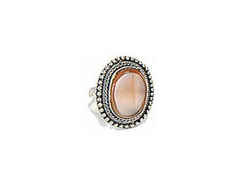 Ring silver beige eco-friendly and ethical fair trade from ethnic Indian