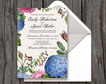 Hydrangea and Rose Wedding Invitation Garden Wedding Flowers Invite Printable Outdoor Rustic Wedding Invitation Blue Pink Floral Invitation