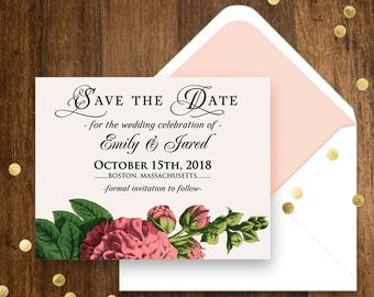Pink Floral Save the Date Cards Garden Wedding Rustic Save the Date Postcards Template Printable Hollyhock Wedding Date Cards Editable text