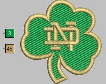 Notre Dame Fighting Irish Clover Embroidery Design 5 Sizes 8 Formats