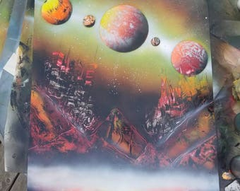 "SPRAY PAINT ART ""FireLands"" original hand painted by GraphicGurl space painting galaxy planet moon stars"