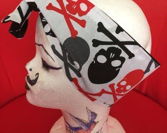 Rockabilly style head scarf-skull fabric