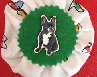 French bulldog rosette brooch