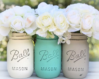 Ivory, aqua, taupe Mason jars. Home decor, shabby chic, boho, vintage, rustic, classic, office, kitchen, gift, anniversary, teen, shower.