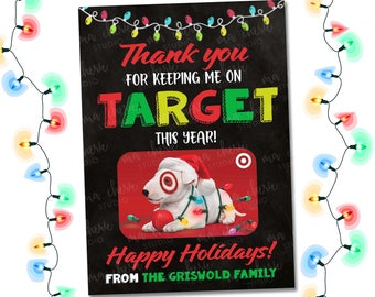 Christmas Gift Card Holder, PRINTABLE Target Gift Card Holder, Teacher Christmas Gift, Personalized Appreciation Coach Xmas Tags Last Minute