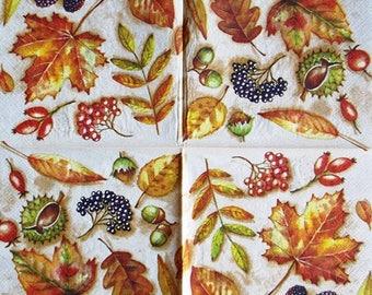 TOWEL in paper leaves and berries #F033