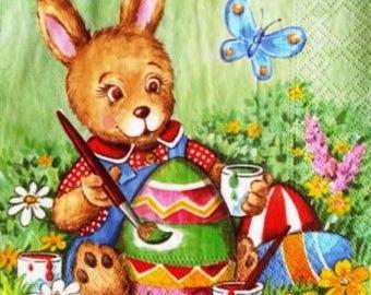 TOWEL in paper rabbit and eggs #DI035