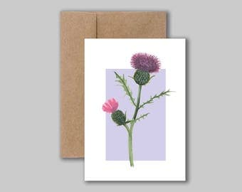 Thistle botanical watercolour illustration art print card. Blank greeting, birthday, thank you card.