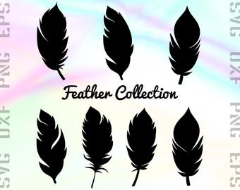 Bird Feather SVG Files - Feather Dxf Files - Feather Clipart - Feather Cricut Files - Feather Cut Files - Feather Silhouette - Feather Png