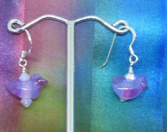 Earrings purple birds with Swarovski crystals
