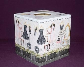 Square white fashion Boutique tissue box