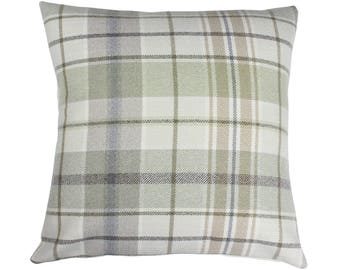 Troon Moss Checked Tartan Plaid Cushion Cover