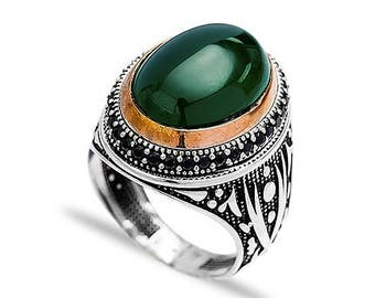 Sterling Silver Green Agate Mens Ring