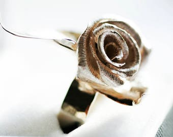 Rose ring in Sterling and pure Silver
