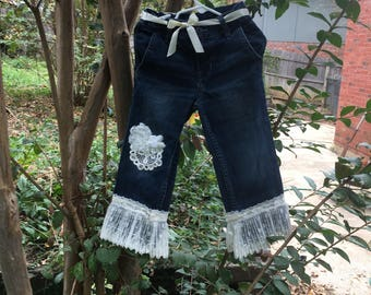 Little girls size 3 altered couture jeans with lace trim and ribbon belt