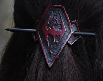 Symbol of Akatosh (Imperial Symbol), Hand Tooled Leather Hair Cuff/pin -Skyrim