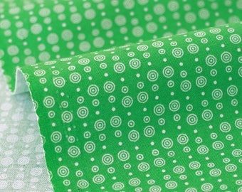 Fabric of TANTE EMA white rondelles green x 50cm