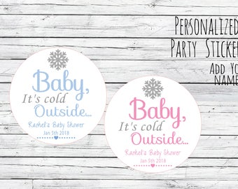 Baby Its Cold Outside Stickers, Baby Its Cold Outside Baby Shower, Winter Baby Shower Savors Stickers Lables, Winter Stickers, Baby Shower