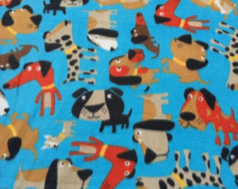 Funky Fun Dogs on Bright Blue Fleece, Spotted Dog Fabric, Sold by the Yard, 1 Yard