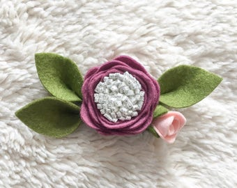 Purple Felt Floral Headband
