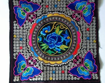 Flowers and Butterflies  Embroidered, Hand Embroidered Hmong Fabric, Thai Hill Tribe, Hmong Textile, Hill Tribe Handmade.
